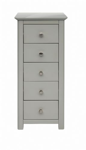 Elgin Grey and Glass 5 Drawer Narrow Chest